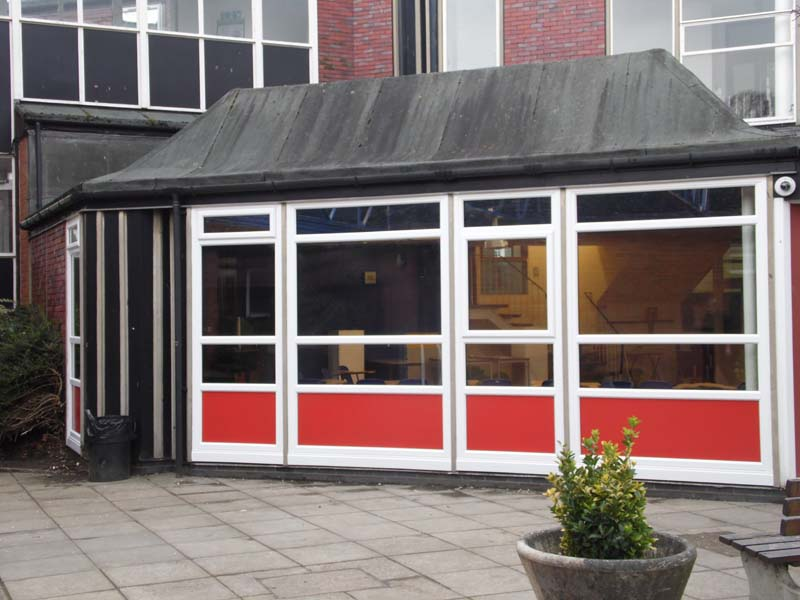 Window Installation Including Red Infill Panels - Waller Building & Glazing Services- Kent Builders