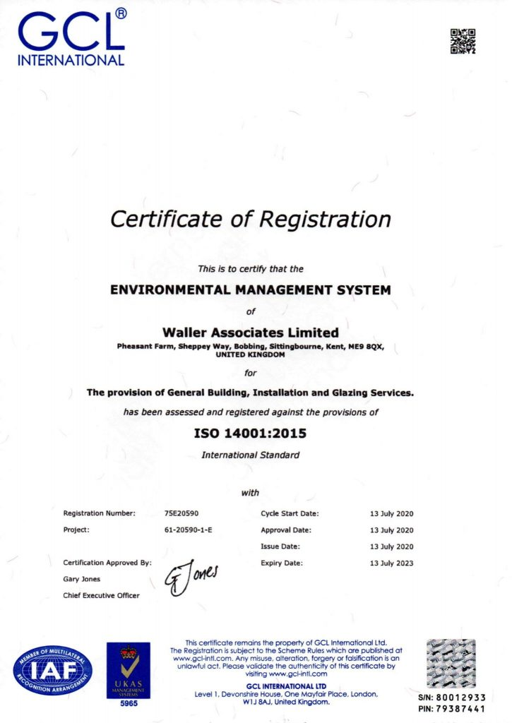 Waller Associates Have Achieved ISO9001 & ISO14001 Status